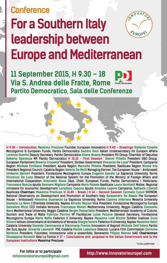 Conference Souther Italy Leadership between Europe and Mediterranean, Rome, PD, 11 september 2015