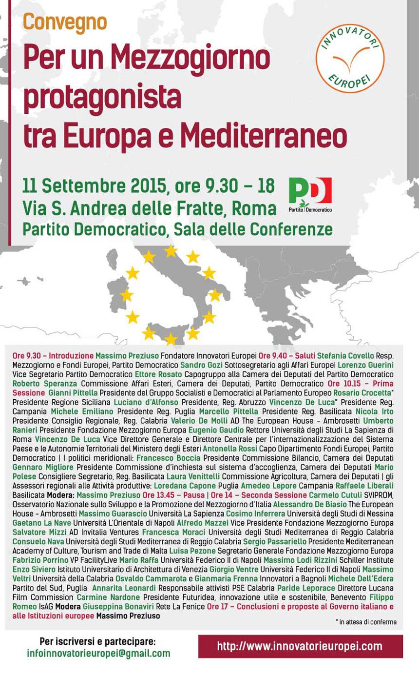 Convegno Per un Mezzogiorno protagonista tra Europa e Mediterraneo, 11 Settembre 2015, Partito Democratico